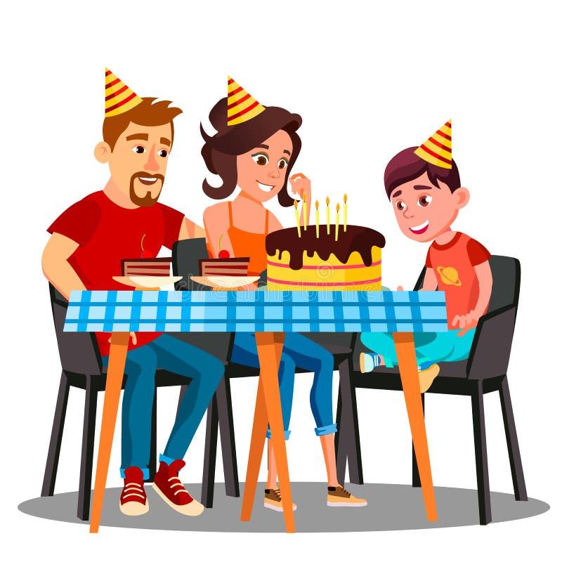 Cumpleaños del niño, familia que se sienta en la tabla del partido con un vector de la torta Ilustración aislada ilustración del vector
