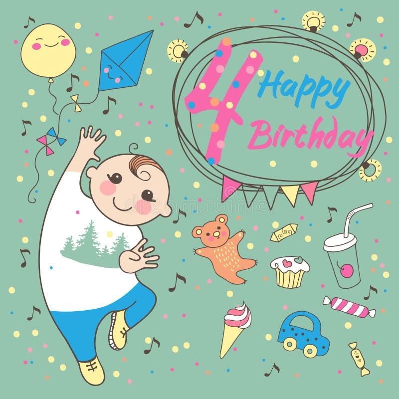 Cumpleaños del niño pequeño 4 años. Tarjeta de felicitación  stock de ilustración