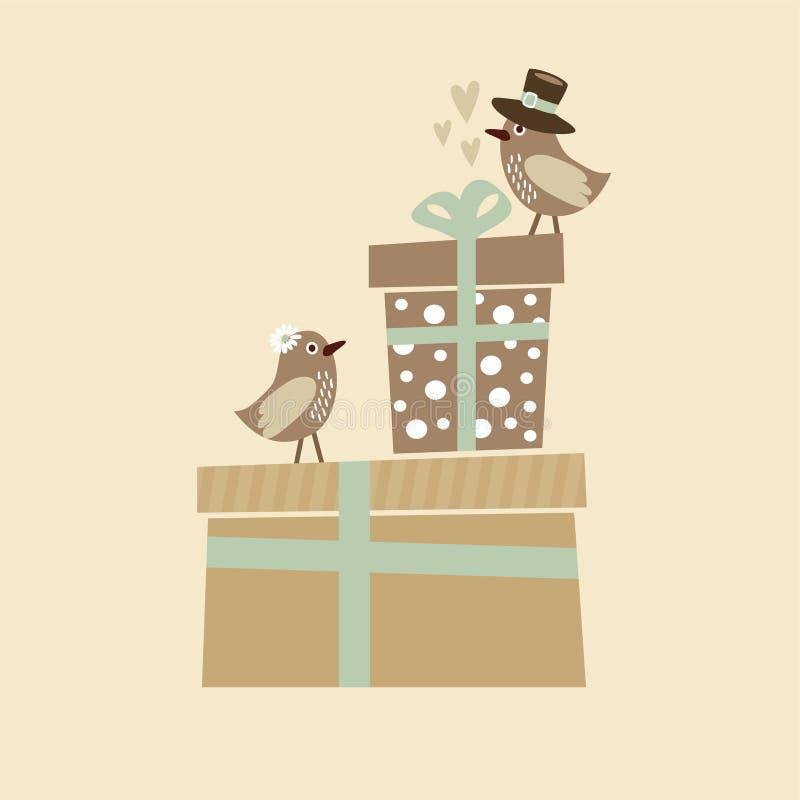 Cumpleaños del vintage, boda o tarjeta de la fiesta de bienvenida al bebé ilustración del vector