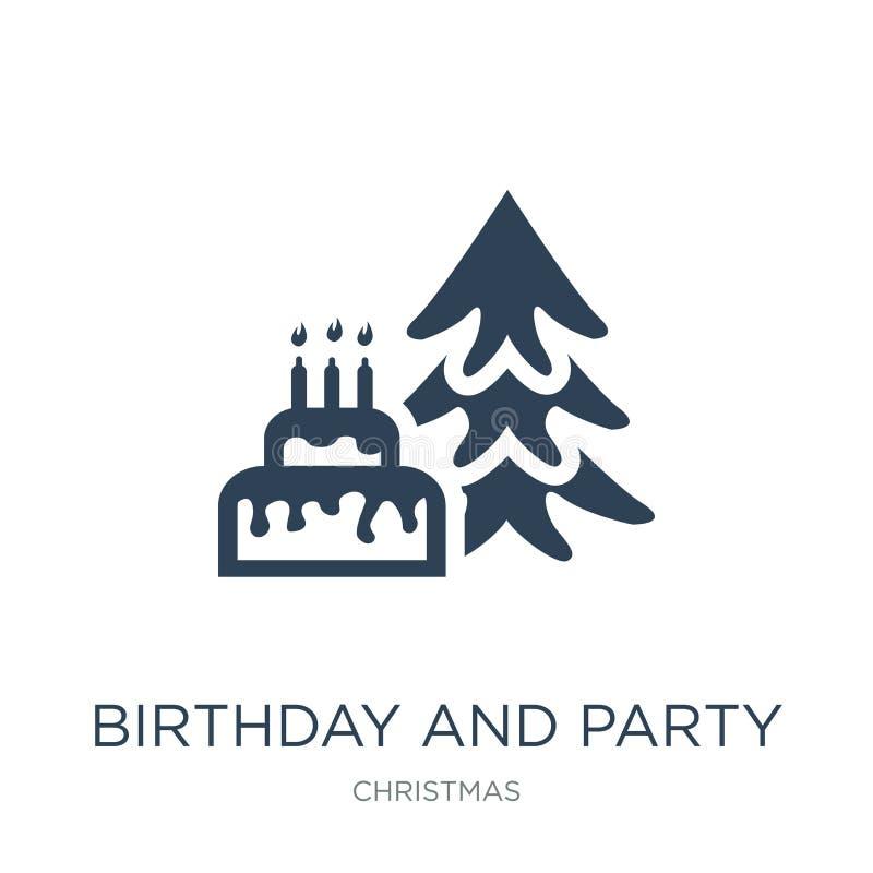 cumpleaños e icono del partido en estilo de moda del diseño cumpleaños e icono del partido aislado en el fondo blanco cumpleaños  ilustración del vector