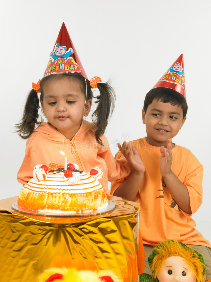 Cumpleaños indio de los niños foto de archivo