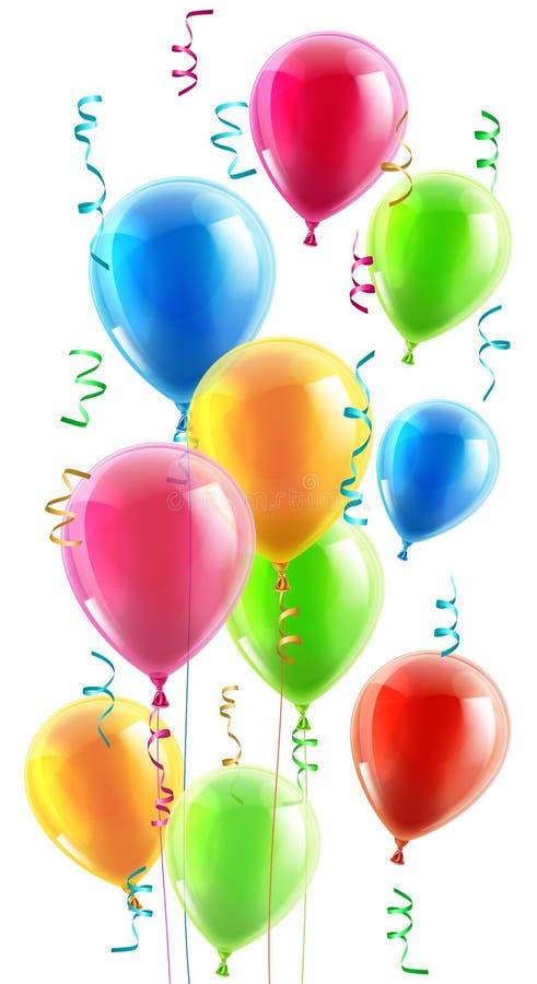 Cumpleaños o globos y cintas del partido stock de ilustración