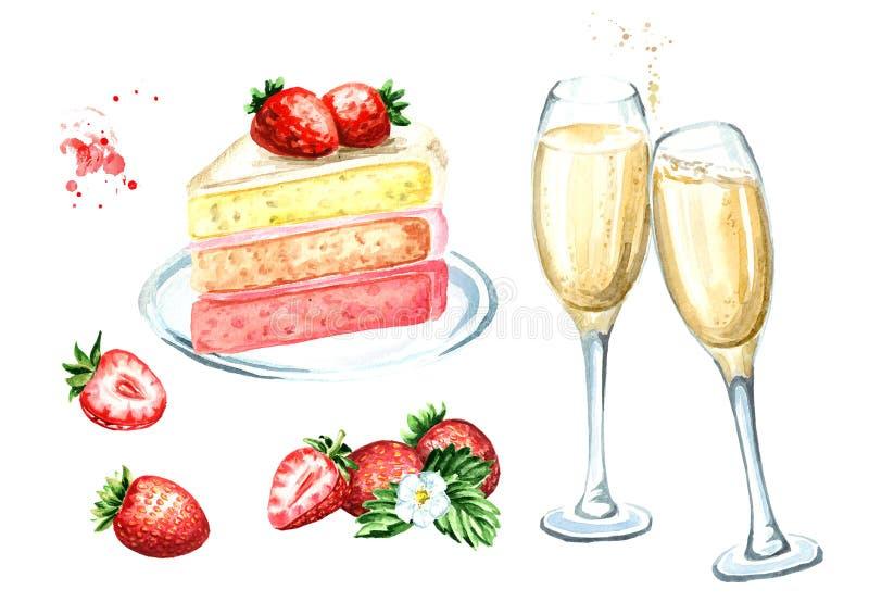Cumpleaños o sistema de la boda Torta de la fresa con los vidrios del champán Ejemplo dibujado mano de la acuarela, aislado en el imagen de archivo