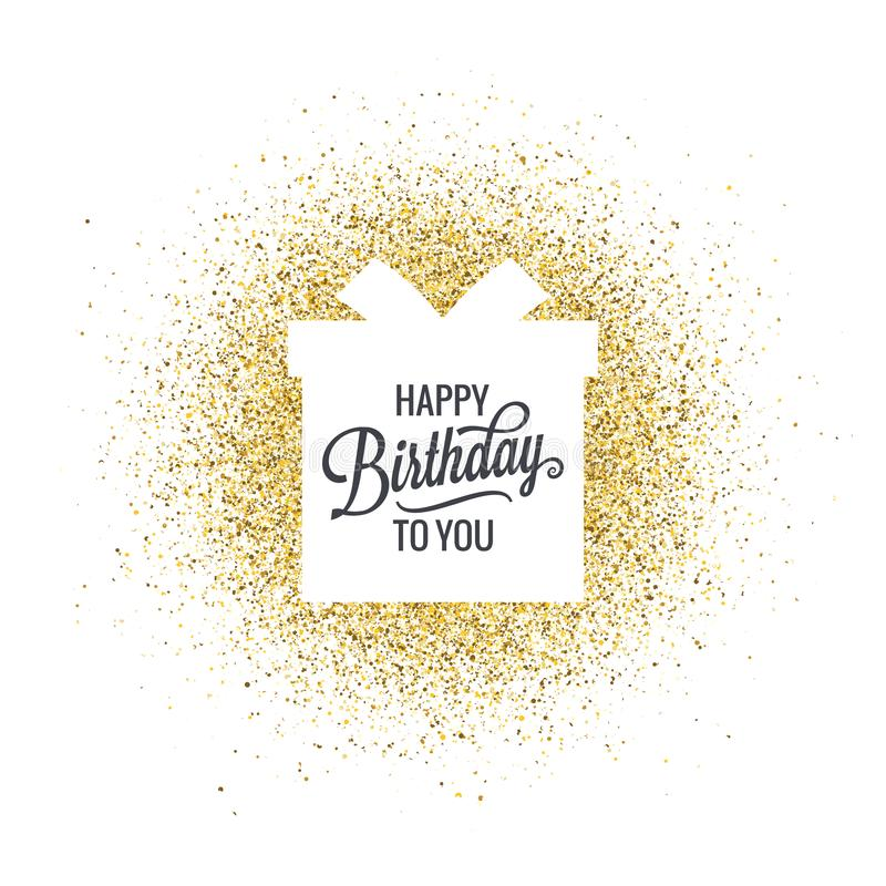 Cumpleaños que pone letras a la caja de regalo en fondo abstracto del brillo de oro libre illustration