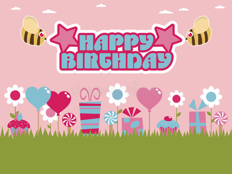 Cumpleaños rosado y azul libre illustration