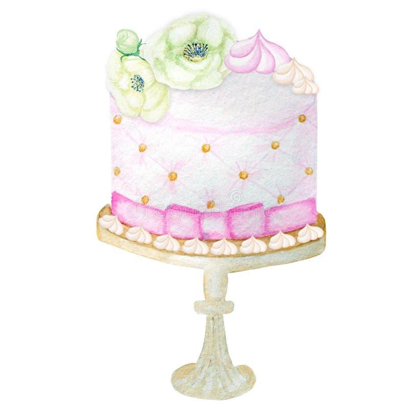 Cumpleaños y casarse la torta de la acuarela en el fondo blanco Desierto exhausto de la mano dulce ilustración del vector