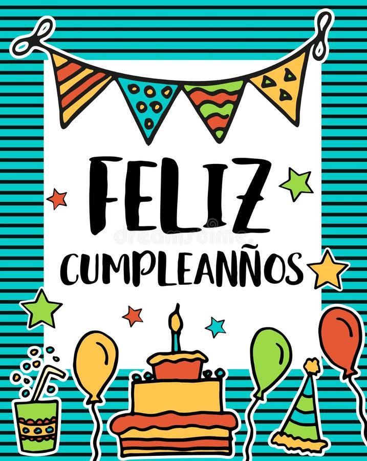 Cumpleanos de Feliz, feliz cumpleaños en la lengua española, cartel ilustración del vector