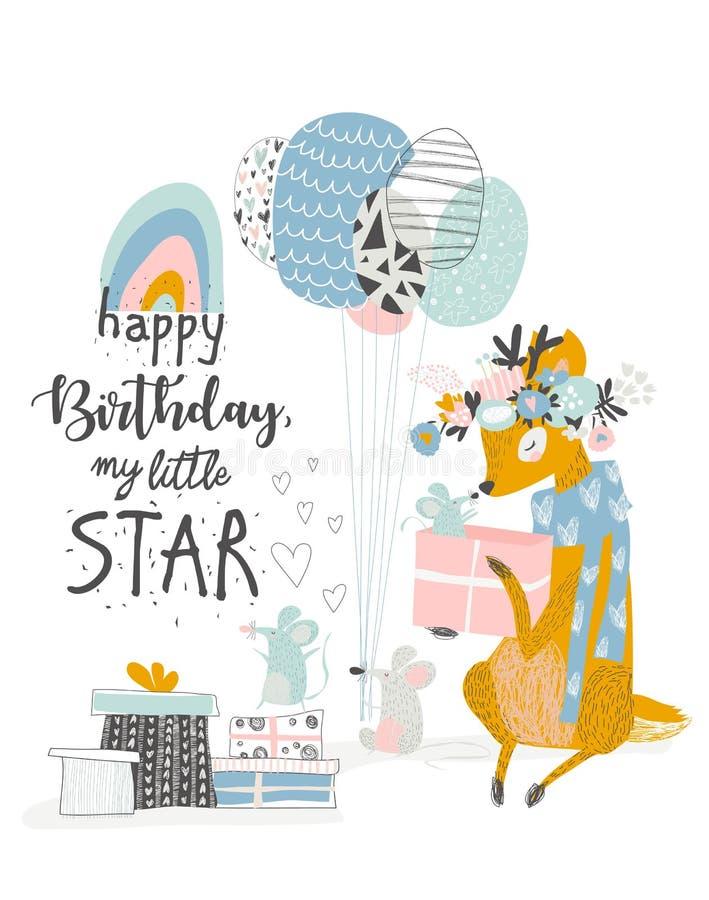 Cumprimentando o cartão de aniversário com cervos bonitos e mouses ilustração royalty free