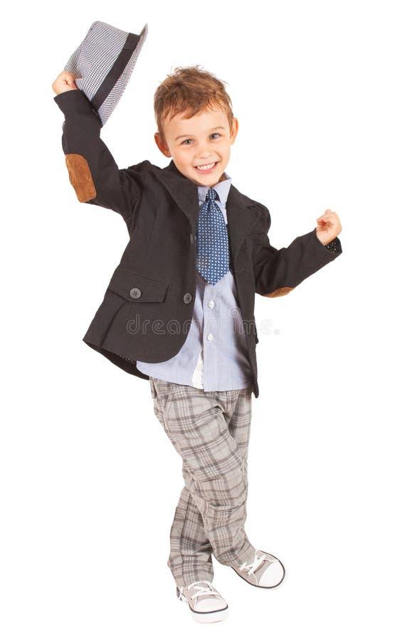 Cumprimentando o rapaz pequeno consideravelmente à moda fresco foto de stock royalty free
