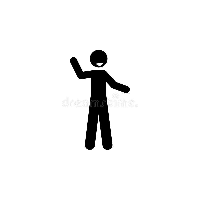 cumprimento, ícone do pictograma do sorriso Elemento do ícone positivo do caráter para apps móveis do conceito e da Web Pictogram ilustração royalty free