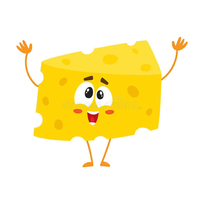 Cumprimento bonito e engraçado, dando boas-vindas ao caráter do pedaço do queijo ilustração royalty free