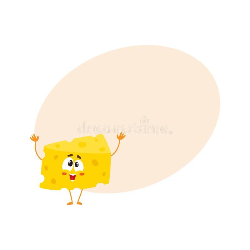 Cumprimento bonito e engraçado, dando boas-vindas ao caráter do pedaço do queijo ilustração do vetor