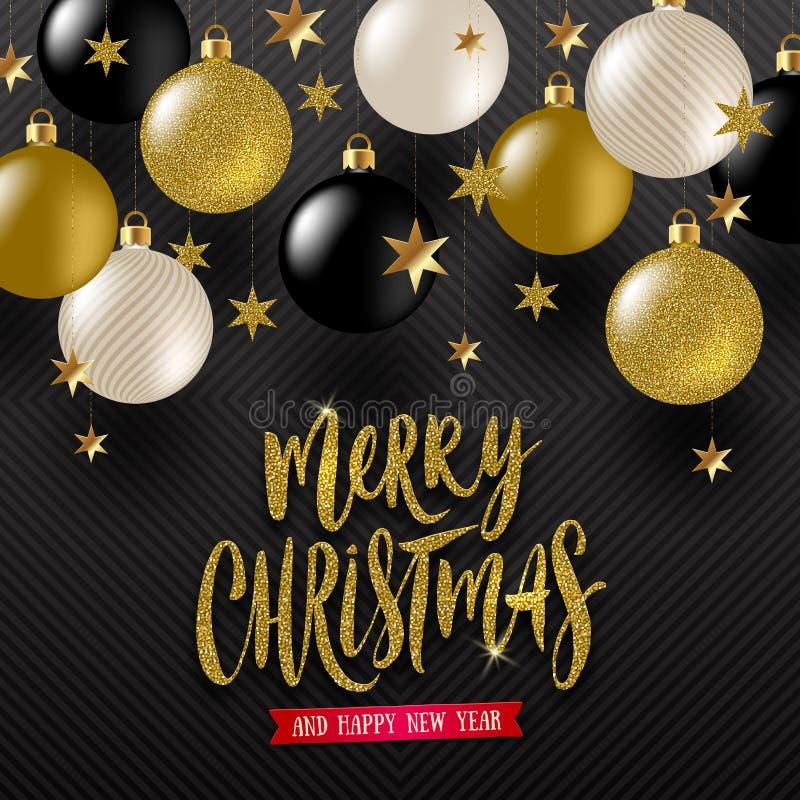 Cumprimento caligráfico do Natal, estrelas douradas e quinquilharias do Natal do ouro do preto, do branco e do brilho ilustração royalty free