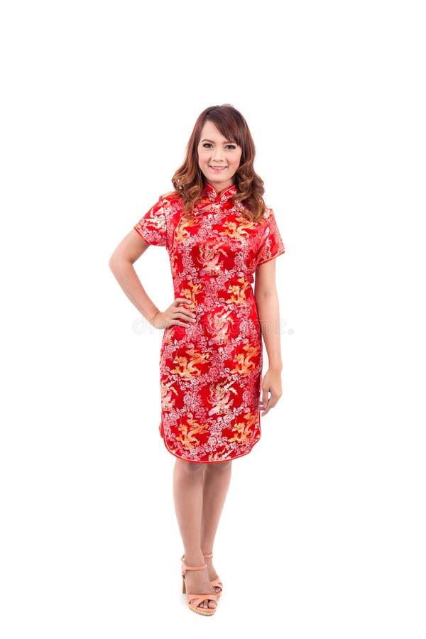 Cumprimento chinês asiático da menina no chinês tradicional foto de stock