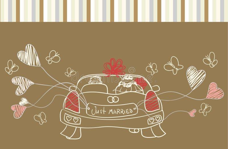 Cumprimento com carro do casamento ilustração royalty free