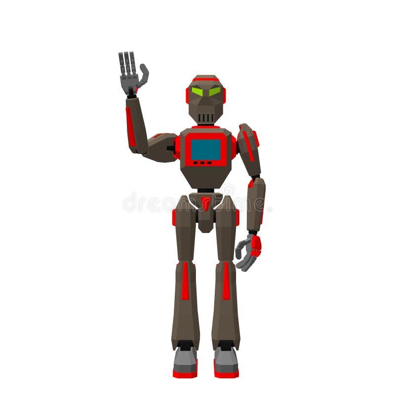 Cumprimento do caráter do robô Isolado no fundo branco 3d Vecto ilustração royalty free