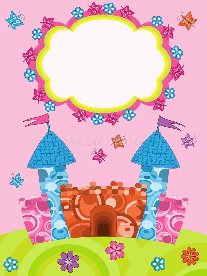 Cumprimento do cartão com castelo dos desenhos animados ilustração do vetor