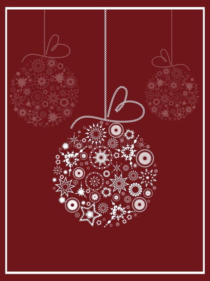Cumprimento do cartão com esferas do Natal ilustração stock