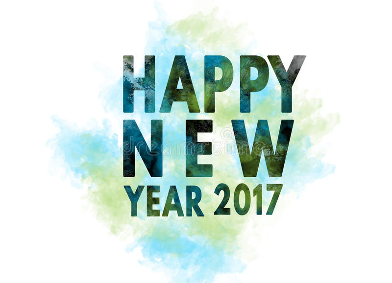 Cumprimento 2017 do cartão da ilustração do ano novo feliz ilustração do vetor