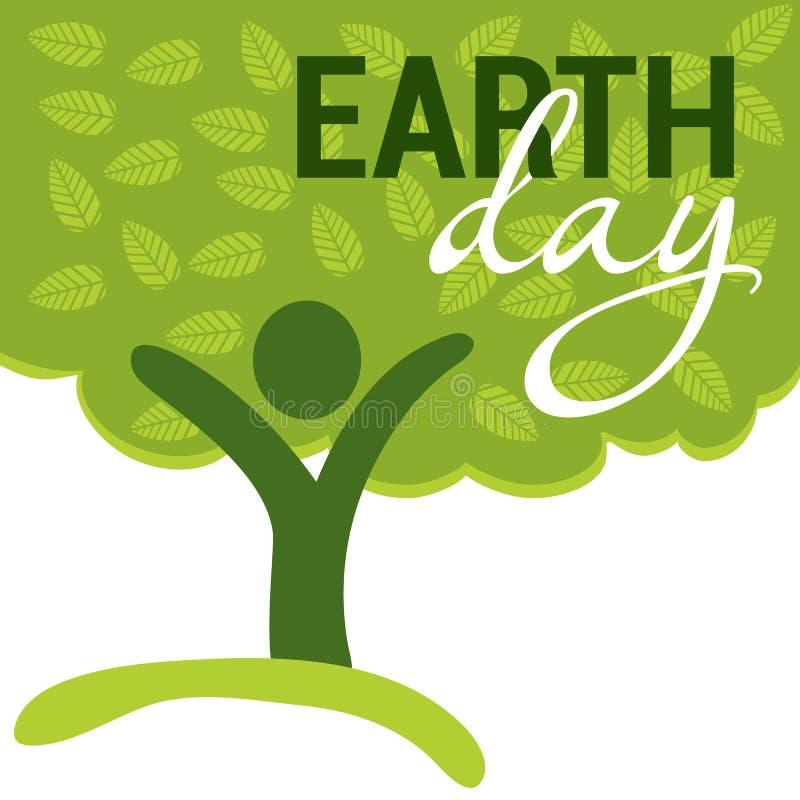 Cumprimento do Dia da Terra com a árvore abstrata como a figura humana ilustração stock