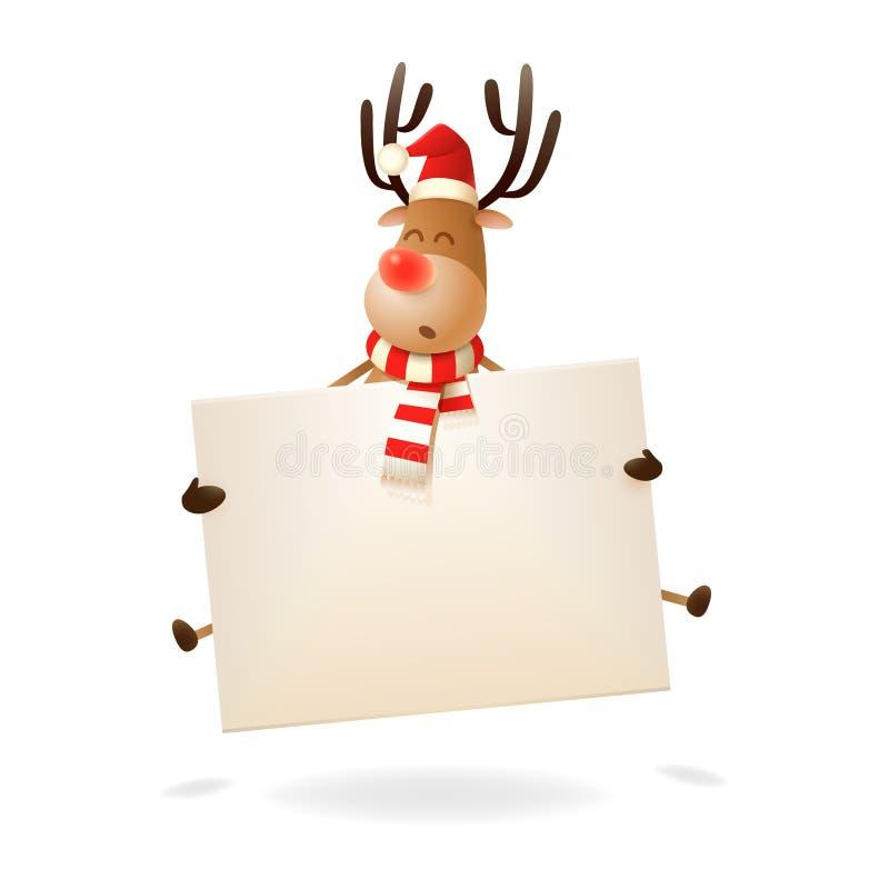 Cumprimento do Feliz Natal e do ano novo feliz - rena que salta com placa ilustração do vetor