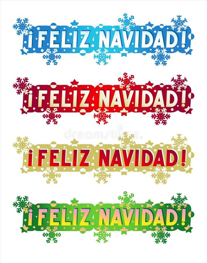 Cumprimento do feriado - Feliz Natal! - no espanhol ilustração royalty free