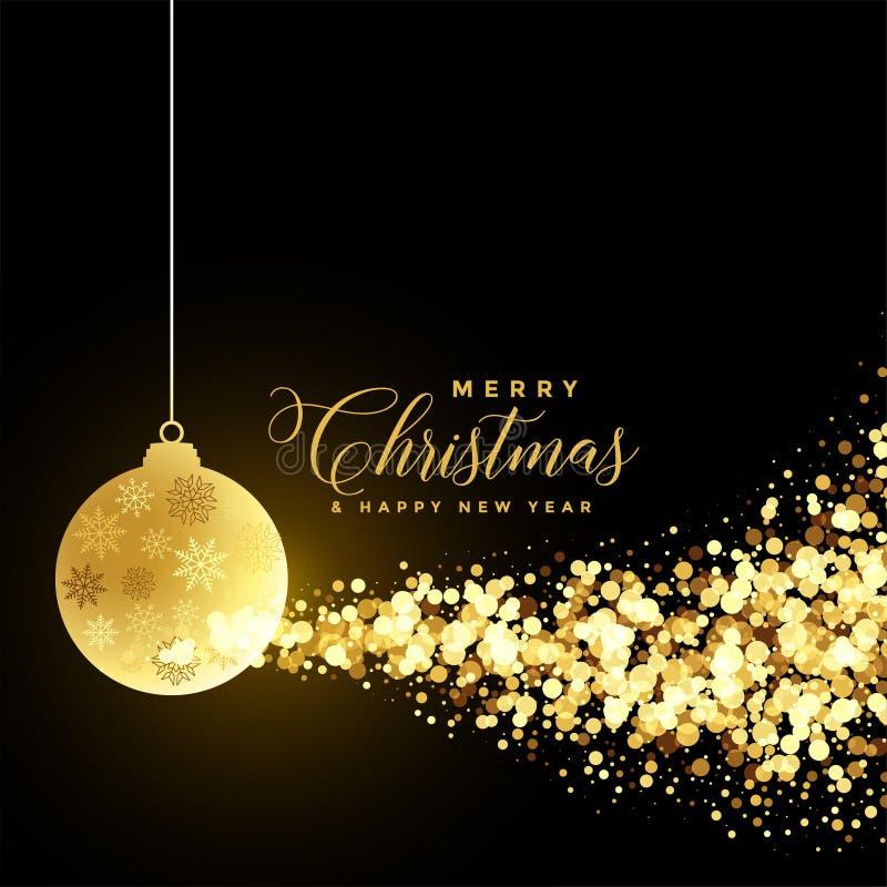 Cumprimento do festival do Natal com bola do xmas e partículas douradas ilustração royalty free