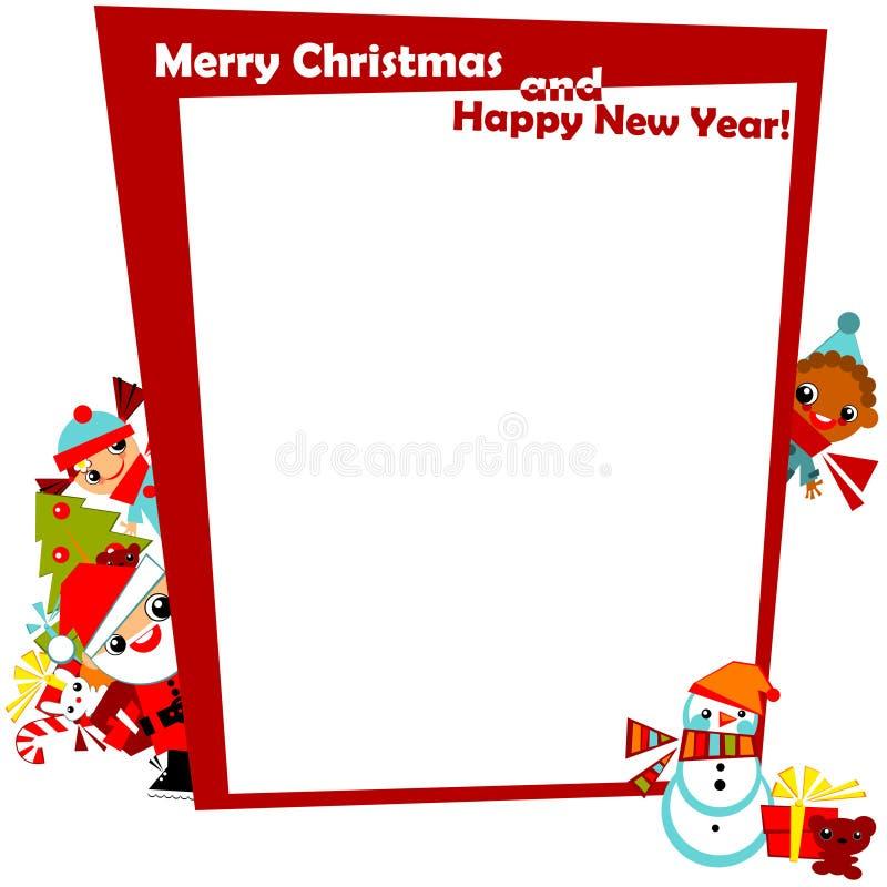 Cumprimento do Natal com miúdos do frame ilustração royalty free