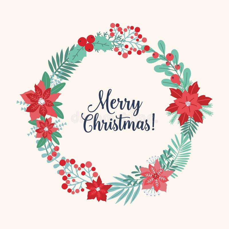 Cumprimento do Natal dentro da grinalda do feriado ou das festões circulares feita de flores sazonais entrelaçadas, ramos, bagas ilustração do vetor