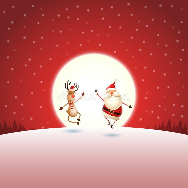 Cumprimento do Natal - Santa Claus e rena na paisagem vermelha do inverno do luar da noite ilustração royalty free