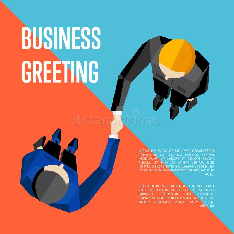 Cumprimento do negócio A vista superior partners o aperto de mão ilustração royalty free