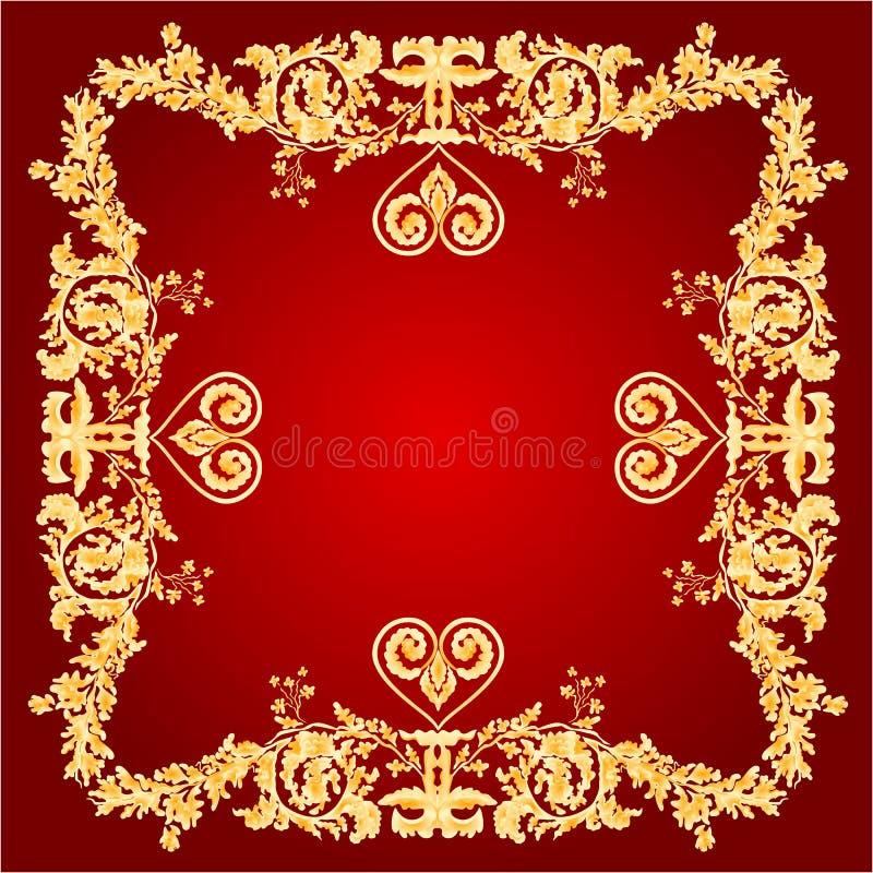 Cumprimento do quadro do coração e vetor vermelhos dos ornamento ilustração stock