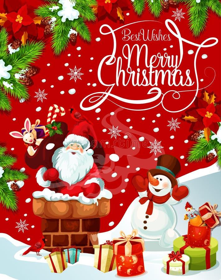 Cumprimento do vetor da árvore dos presentes de Santa do Feliz Natal ilustração stock
