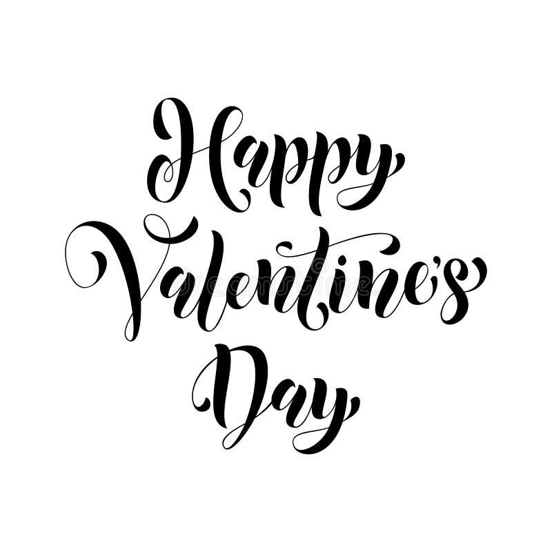 Cumprimento do vetor da caligrafia do texto do amor do cartão de Valentine Day ilustração do vetor