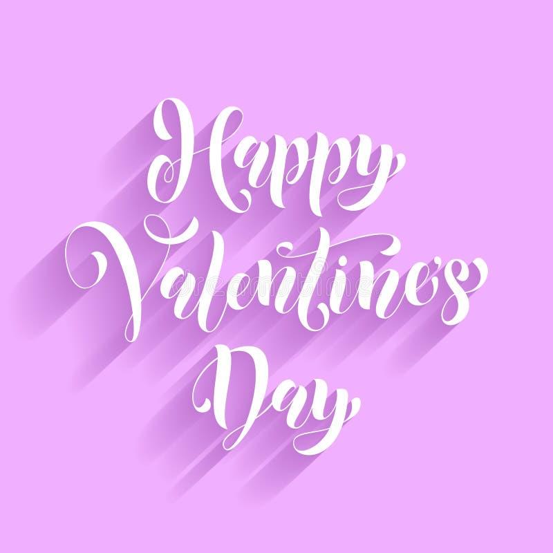 Cumprimento do vetor da caligrafia do texto do amor do cartão de Valentine Day ilustração stock