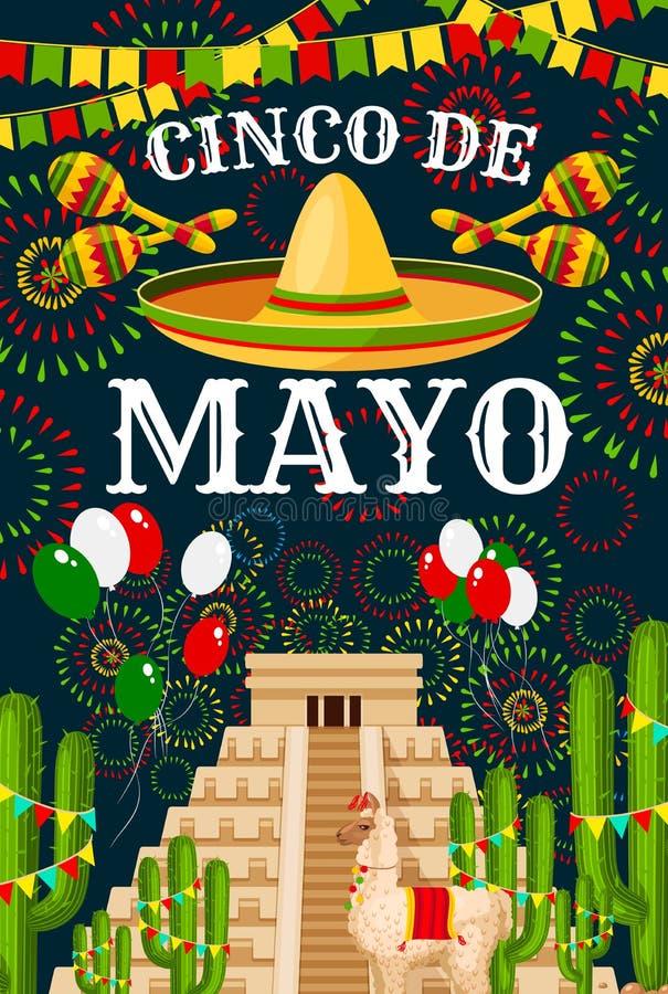 Cumprimento do vetor do sombreiro de Cinco de Mayo Mexican ilustração stock