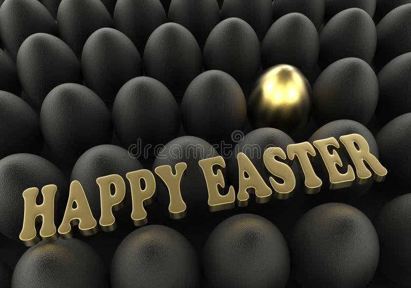 Cumprimento dourado e preto do fundo da Páscoa dos ovos das felicitações ilustração do vetor