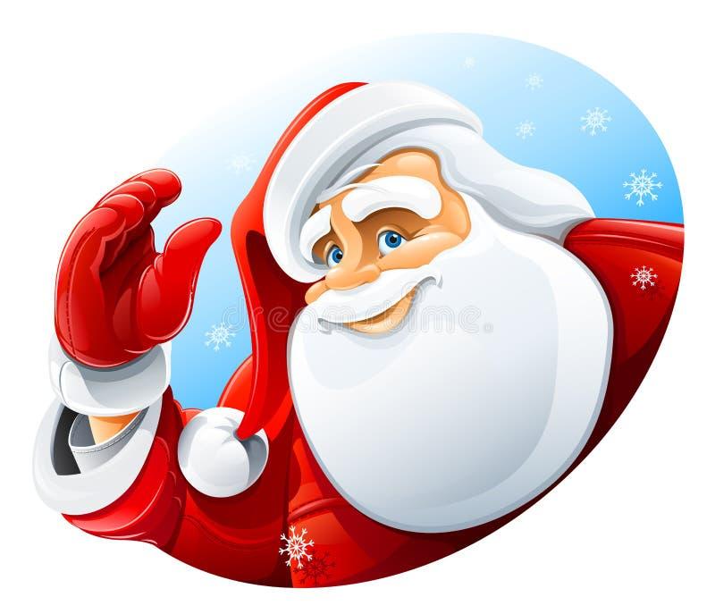 Cumprimento feliz da face de Papai Noel ilustração stock
