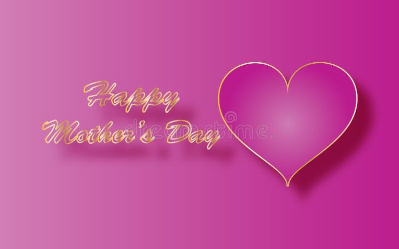 Cumprimento feliz do dia de mães, coração cor-de-rosa e texto dourado imagens de stock