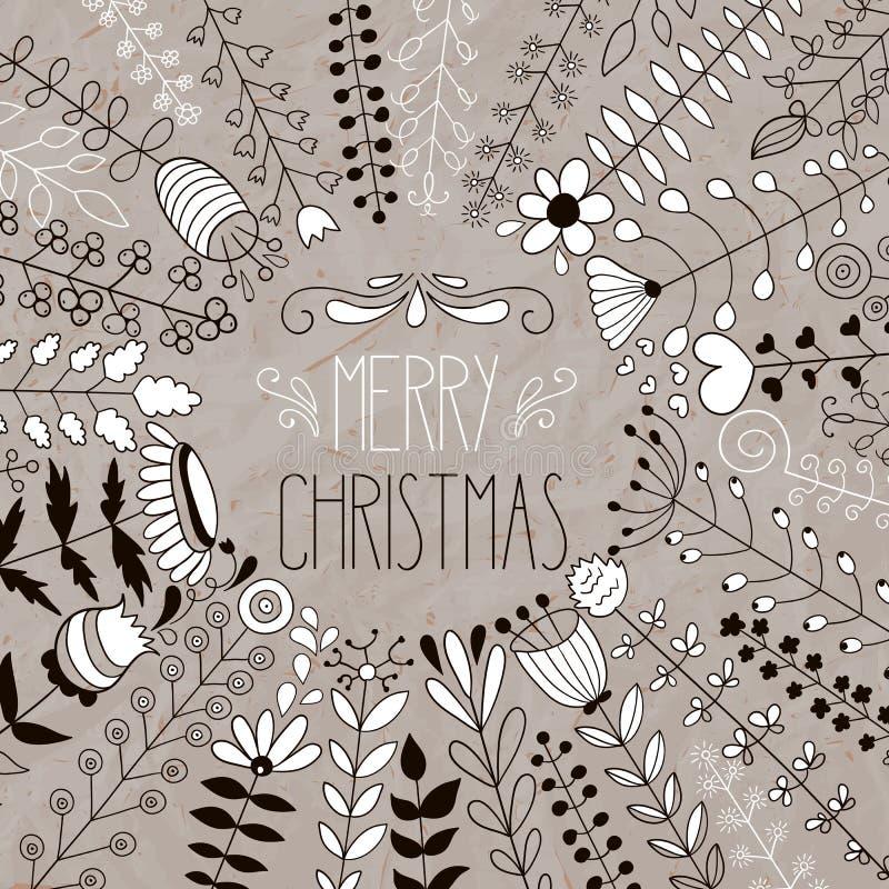 Cumprimento floral do Feliz Natal do vetor ilustração stock