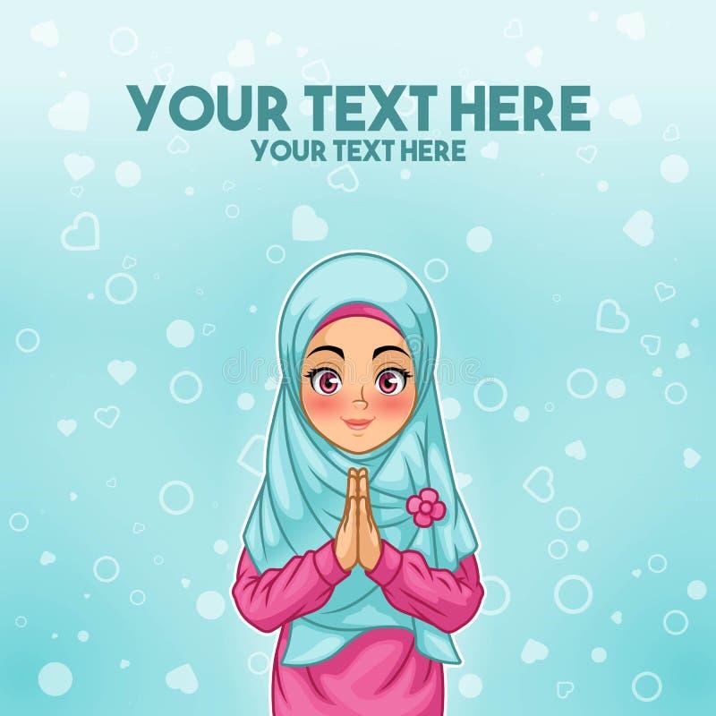 Cumprimento muçulmano da mulher com mãos de acolhimento ilustração royalty free