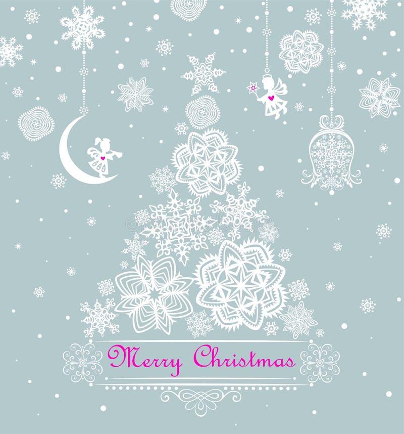 Cumprimento pastel do Xmas com o corte do papel que pendura a árvore pequena dos anjos e de abeto do Natal com flocos de neve ilustração royalty free