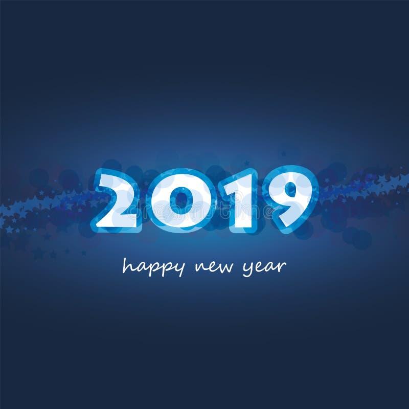 Cumprimentos - cartão do ano novo feliz do estilo ou fundo moderno abstrato, molde criativo do projeto - 2019 ilustração royalty free