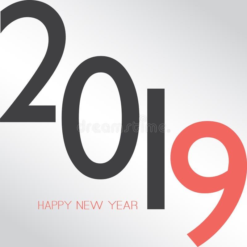 Cumprimentos - cartão do ano novo feliz do estilo ou fundo retro abstrato, molde criativo do projeto - 2019 ilustração do vetor
