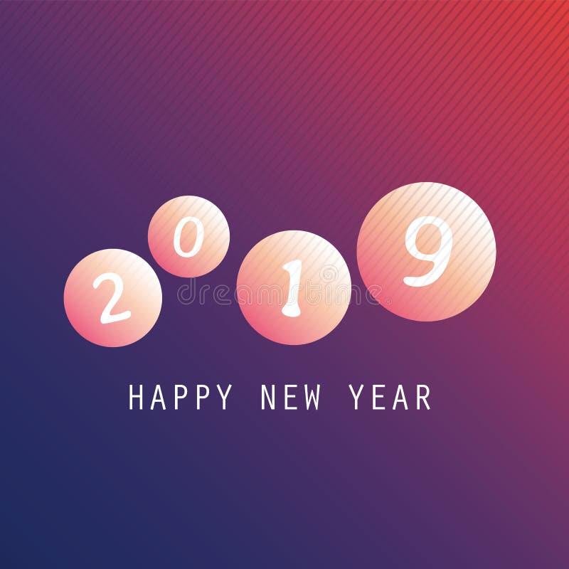 Cumprimentos - cartão do ano novo feliz do estilo, tampa ou fundo moderno abstrato alaranjado e roxo, molde criativo do projeto ilustração royalty free