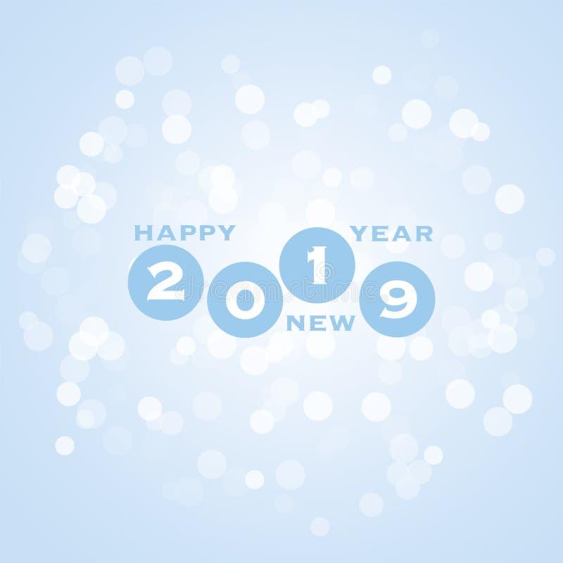 Cumprimentos - cartão do ano novo feliz do estilo, tampa ou fundo moderno abstrato azul, molde criativo do projeto - 2019 ilustração stock