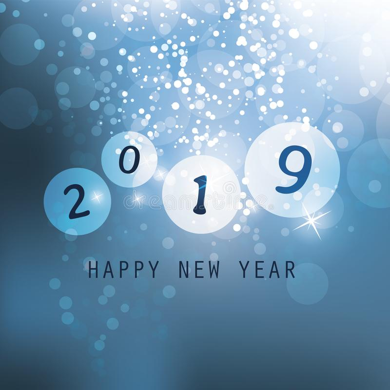 Cumprimentos - cartão do ano novo feliz do estilo, tampa ou fundo moderno abstrato azul, molde criativo do projeto - 2019 ilustração do vetor