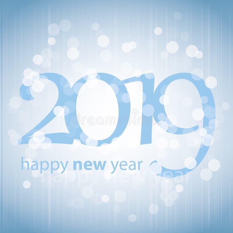 Cumprimentos - cartão do ano novo feliz do estilo, tampa ou fundo moderno abstrato azul, molde criativo do projeto - 2019 ilustração royalty free