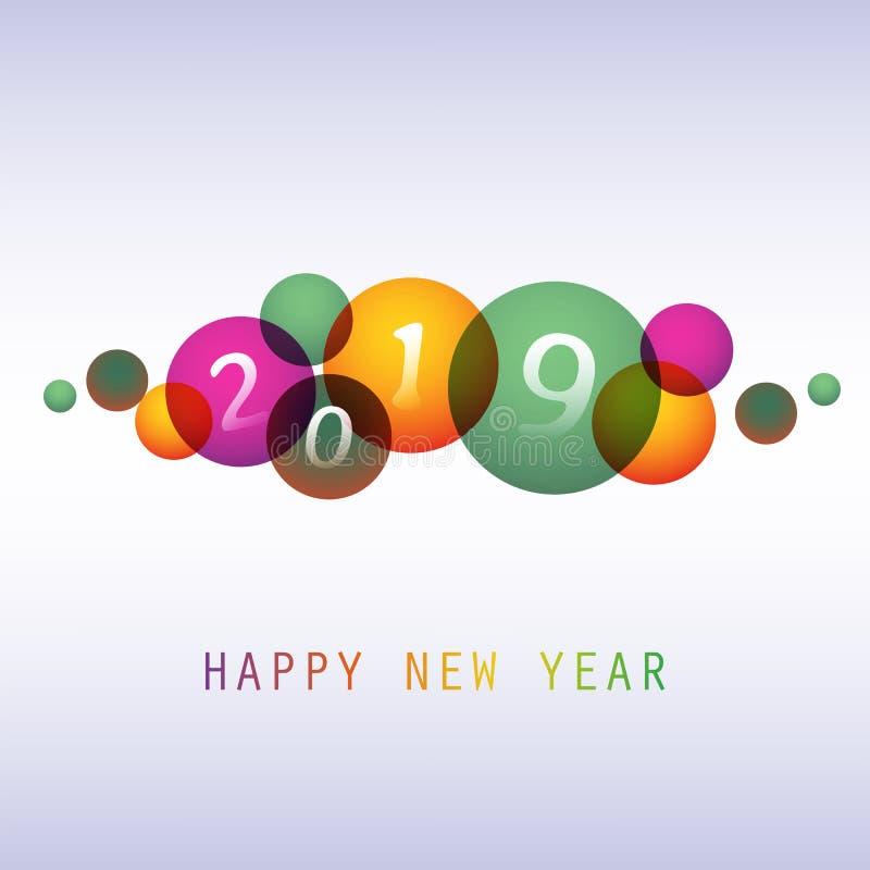 Cumprimentos - cartão do ano novo feliz do estilo, tampa ou fundo moderno abstrato colorido, molde criativo do projeto - 2019 ilustração stock
