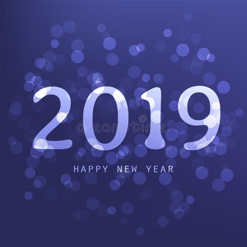 Cumprimentos - cartão do ano novo feliz do estilo, tampa ou fundo moderno abstrato roxo, molde criativo do projeto - 2019 ilustração do vetor